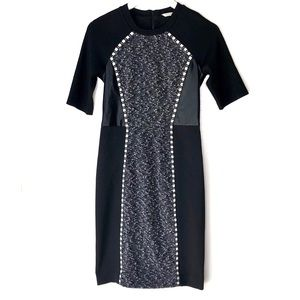 RACHEL ROY. Mixed Media Faux Leather Sheath Dress
